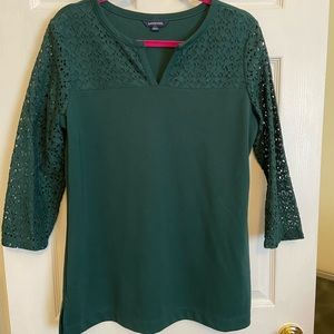 Land's End knit shirt with lace sleeves